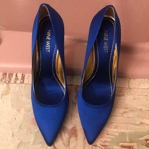 Satin blue heels